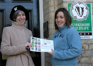 Handing over a donation to the Yorkshire Wildlife Trust from BigBuzz calendar sales