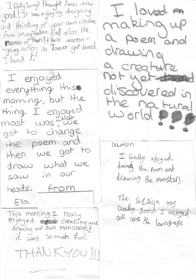 Some thank you notes from Archbishop of York's junior school