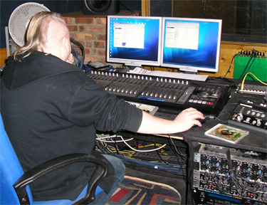 Sound engineer Lee adding musical stings to Buzzing! at bh media in York