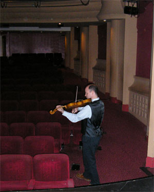 John Rayson practising in Oxford Playhouse before our show