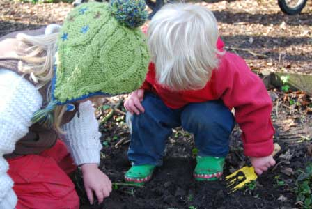 Digging up worms on our Rhyme Time Ramble