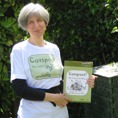 Anneliese, her compost bin and her 'Compost! The (mini-)Musical' Teaching Pack