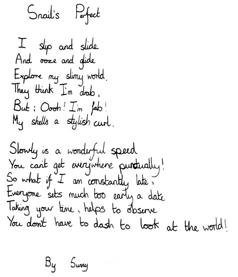 Sunny's poem, written on National Poetry Day 2009