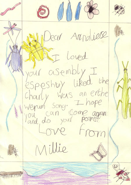 'Thank You' letter from Millie