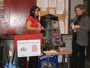 Catherine Bamford of York Rotters dispensing composting advice at a Compost! The (mini-)Musical performance