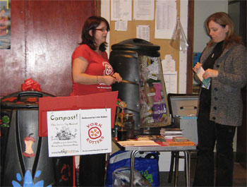 Catherine from York Rotters dispensing composting advice in Dunnington