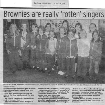 Osbaldwick Brownies in York Press, about to perform Compost! The (mini-)Musical