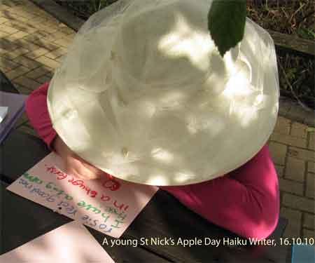 A young Apple Day haiku writer at St Nick's, York, 16.10.10