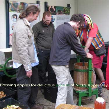 Creating delicious apple juice at St Nick's Apple Day, 16.10.10