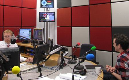 The Royal Wedding in BBC Radio York's Breakfast Show studio, with host Adam Tomlinson and Fashion City York's Russell Norton