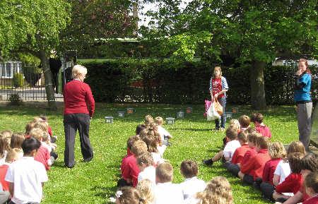 Rachel Simpson with the pupils of Headlands Primary School as part of Compost Awareness Week 2011