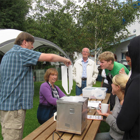 Dr Dave Chesmore opens the moth trap at the St Nick's Moth Day