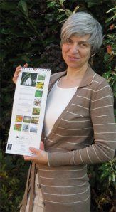 Anneliese with her snowdrop photo in the 2012 Marks and Spencer calendar