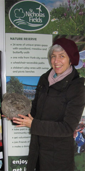 Anneliese holding the St Nicholas Fields' wasps' nest, Winter 2011