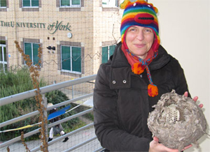 Anneliese with OPAL's wasps' nest, Winter 2011
