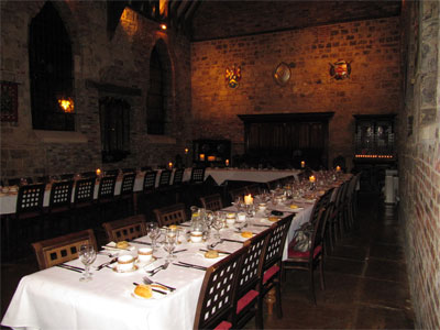 Bedern Hall, York, decked out for a Rhyme and Dine evening for Cambridge Education Group