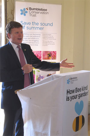 Richard Benyon MP, Minister for the Natural Environment and Fisheries, helping to launch the BBCT's Bees for Everyone project