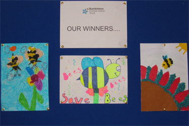 Edinburgh prize-winning bumblebee pictures, by Duddingston Primary School pupils
