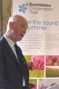 Professor Michael Usher OBE, FRSE, Chair of the Bumblebee Conservation Trust, launching the Bees for Everyone project