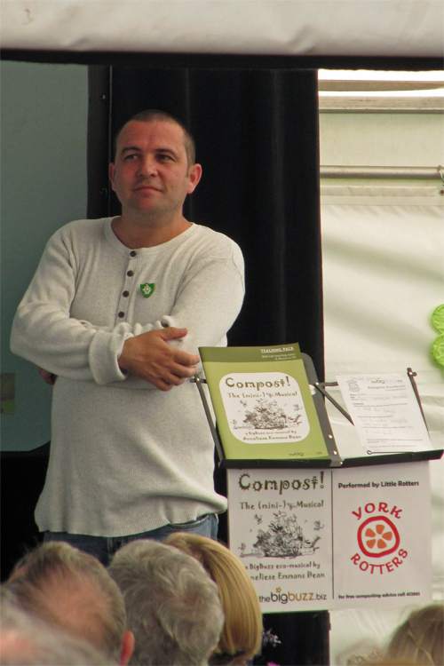 Blue Peter gardener Chris Collins, on stage at Garden Organic after our Compost! The (mini-)Musical. 30 June 2012