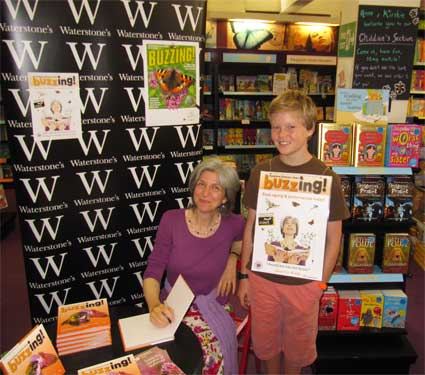 Ably assisted at my book signing by sandwich-board Alex, York 24 August 2012