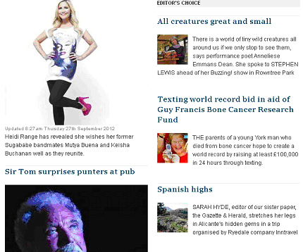 Sir Tom Jones and me - on the same web page! (The Press, www.yorkpress.co.uk, 29 September 2012)