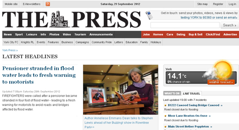 The Press home page is Buzzing! www.yorkpress.co.uk, 29  September 2012