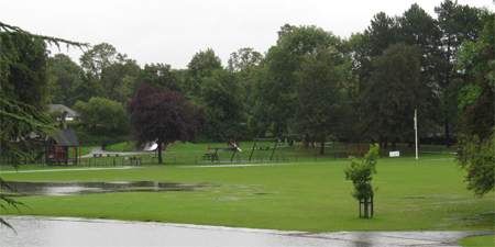 Rowntree Park play equipment, viewed from the Reading Café, 25 September 2012