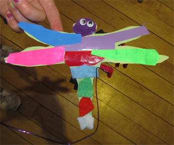 'Rainbow' dragonfly made by a minibeast crafter at our Buzzing! event, Rowntree Park, 6 October 2012