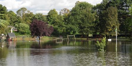 Rowntree Park play equipment, viewed from the Reading Café, 6 October 2012