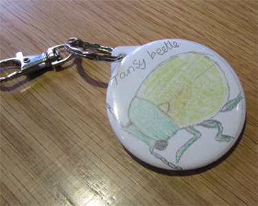 Tansy beetle key ring, made by a minibeast crafter at our Buzzing! event, Rowntree Park, 6 October 2012