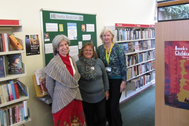 Linda Parker, Sue Matthews and me at Haxby Library, 1 November 2012