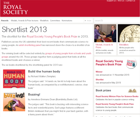 Royal Society web page showing Young People's Book Prize shorlisted books