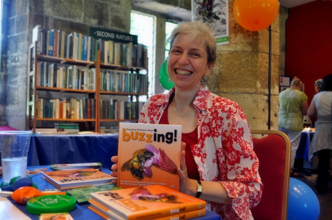 Signing copies of my Buzzing! book at the Brambleby Books stand at the Insect Festival, York, 7 July  2013