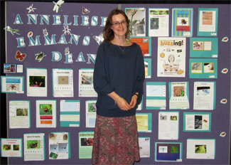 Perse Prep School Librarian Sylvie Rigby with pupils' fabulous competition entries