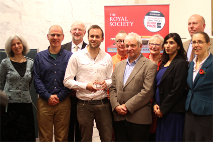 Winner Rob Lloyd Jones, with his trophy, surrounded by fellow authors and judges and Sir Paul Nurse, President of the Royal Society