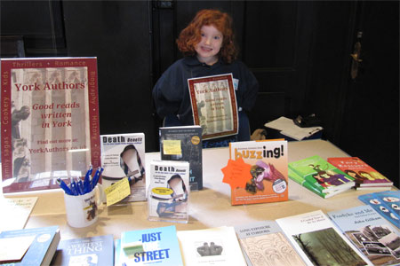 Ruby at the York Authors pop-up bookstall at York Literature Festival 2014