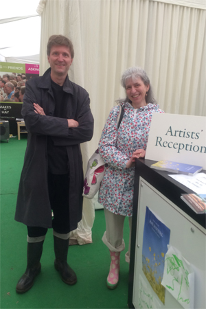 Mike Barfield and I arriving at the Hay Festival suitably wellied