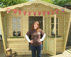 Project leader Kathy Sturgess outside the new Ecotherapy Chalet at St Nicks, York