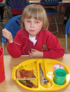 Eating lunch at Fishergate Primary School