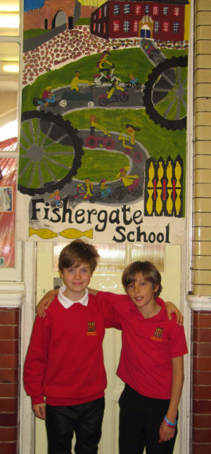 Two very helpful Fishergate pupils, justifiably proud of their school