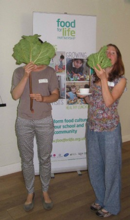 FFLP grown-ups Chloe and Kay, with the all-important rhubarb!