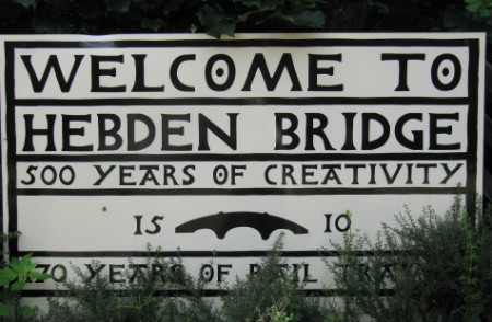 Welcome to Hebden Bridge sign