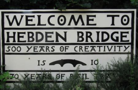 Welcome to Hebden Bridge sign