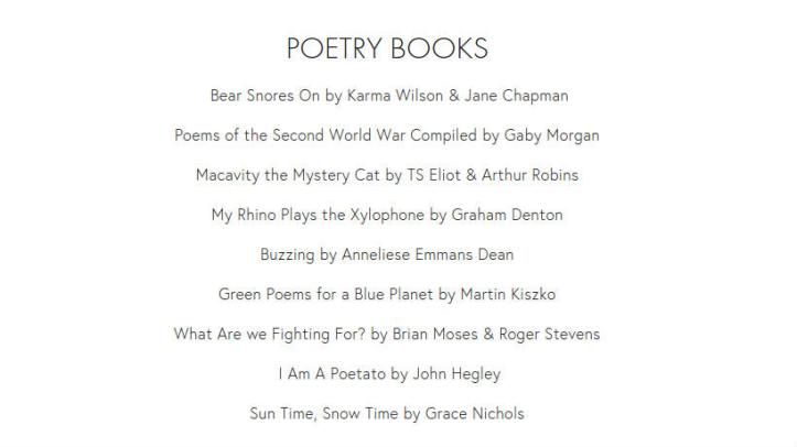 Poetry books nominated for the North Somerset Teachers' Book Award