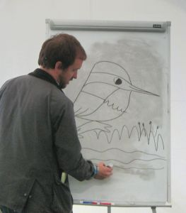 Matt Sewell teaching us how to draw birds