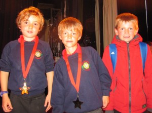 The 2015 P Factor Winners from Kirkbymoorside Primary School, getting ready to go home after their triumphant performance.
