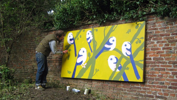 Matt Sewell creating his mural at Castle Gardens, Malton
