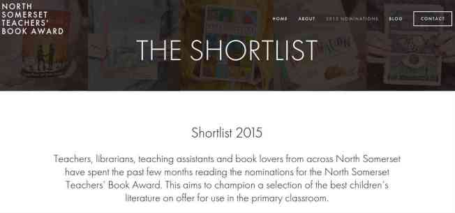Screen shot of Website of the North Somerset Teachers Book Award