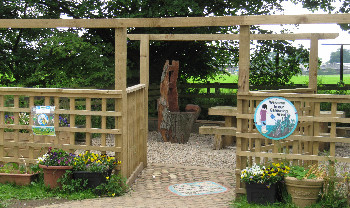 The Reflection Garden at Bolton-on-Swale Primary School - complete with storyteller's chair